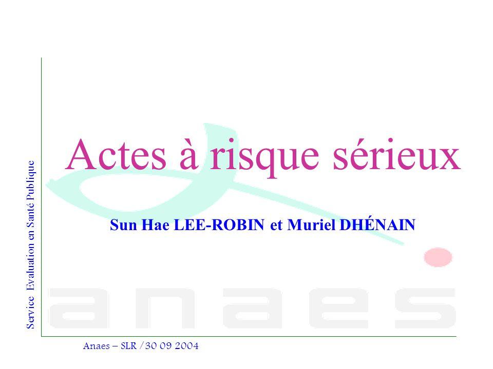 Service Evaluation en Santé Publique Anaes – SLR /30 09 2004 Sun Hae LEE-ROBIN et Muriel DHÉNAIN Actes à risque sérieux