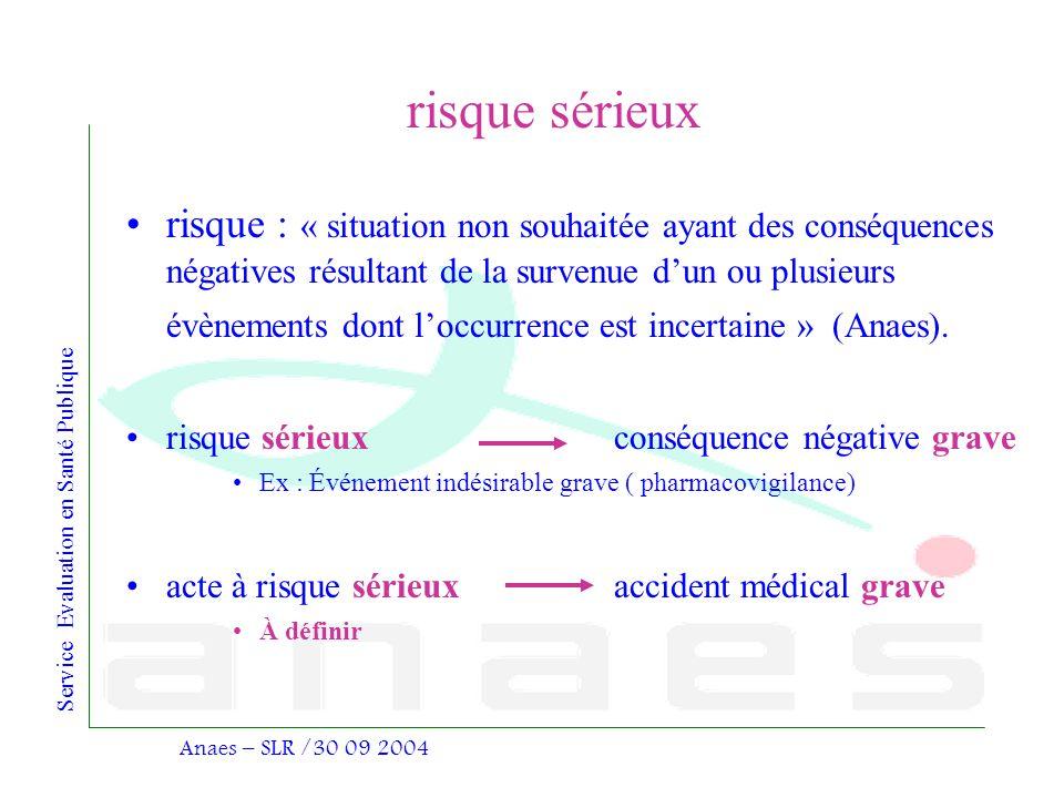 Service Evaluation en Santé Publique Anaes – SLR /30 09 2004 risque sérieux risque : « situation non souhaitée ayant des conséquences négatives résult