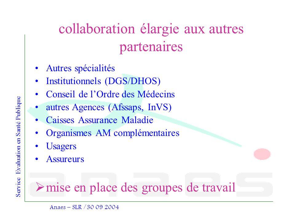 Service Evaluation en Santé Publique Anaes – SLR /30 09 2004 collaboration élargie aux autres partenaires Autres spécialités Institutionnels (DGS/DHOS