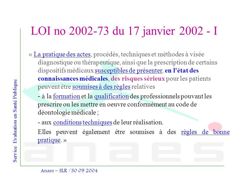 Service Evaluation en Santé Publique Anaes – SLR /30 09 2004 LOI no 2002-73 du 17 janvier 2002 - I « La pratique des actes, procédés, techniques et mé