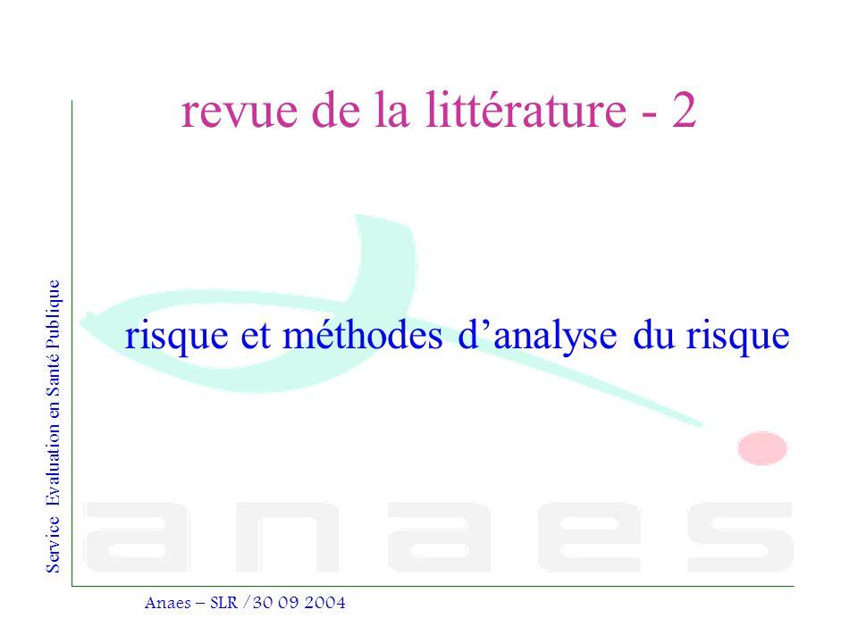 Service Evaluation en Santé Publique Anaes – SLR /30 09 2004 revue de la littérature - 2 risque et méthodes danalyse du risque