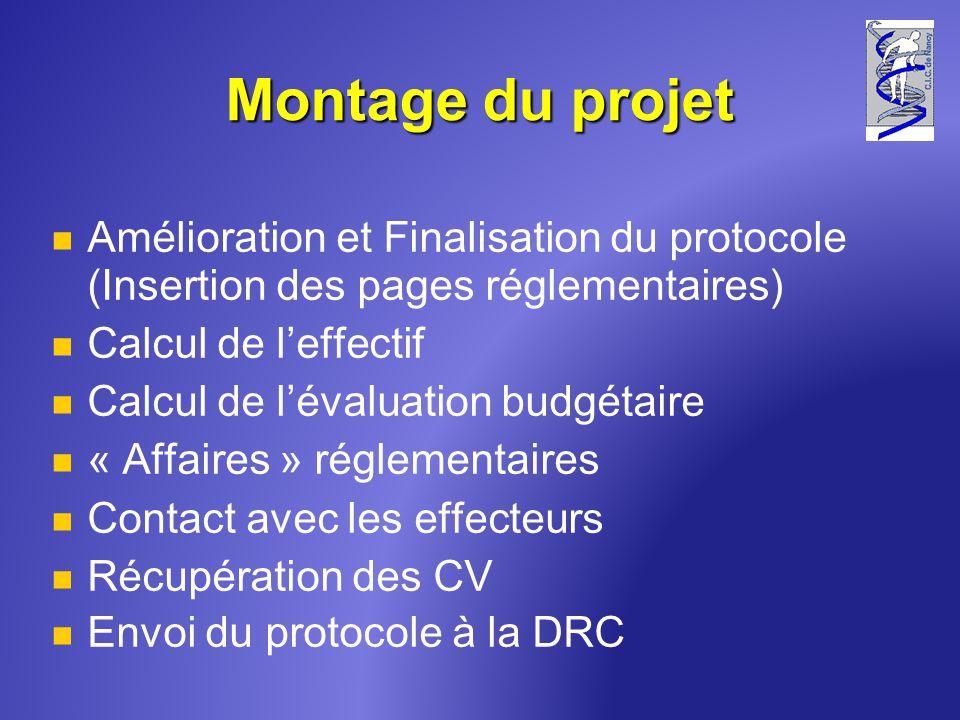 Montage du projet Amélioration et Finalisation du protocole (Insertion des pages réglementaires) Calcul de leffectif Calcul de lévaluation budgétaire