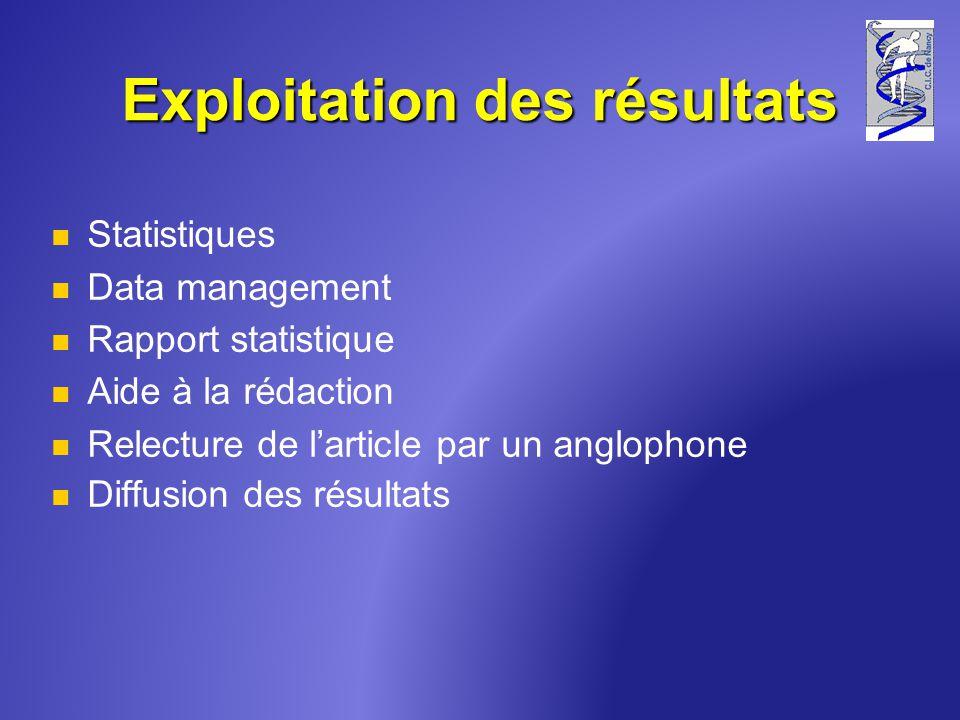 Exploitation des résultats Statistiques Data management Rapport statistique Aide à la rédaction Relecture de larticle par un anglophone Diffusion des