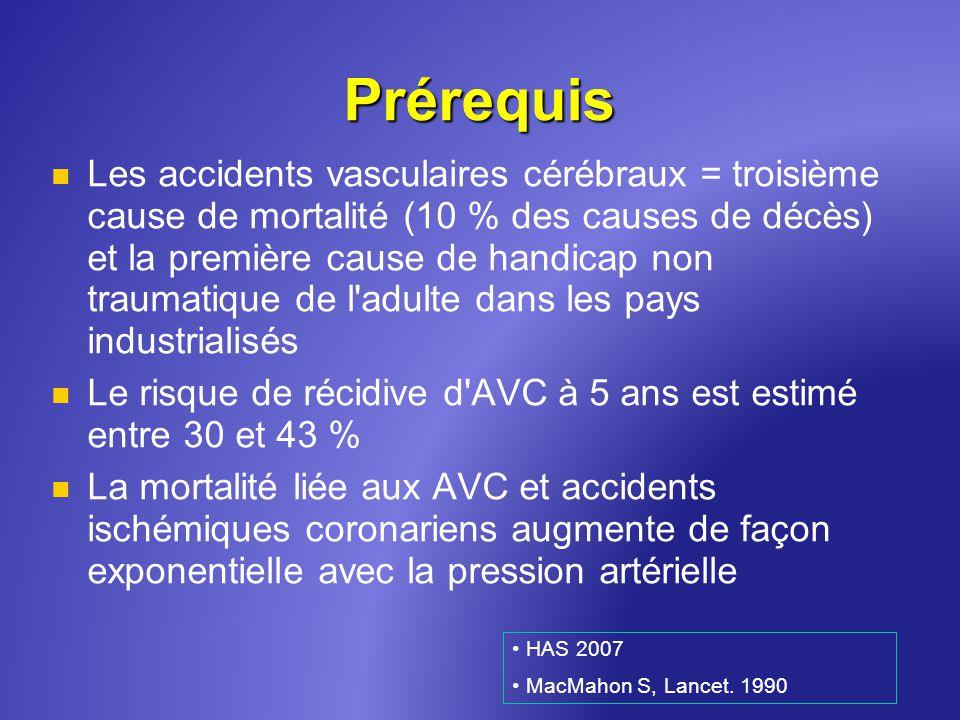 Prérequis Les accidents vasculaires cérébraux = troisième cause de mortalité (10 % des causes de décès) et la première cause de handicap non traumatiq