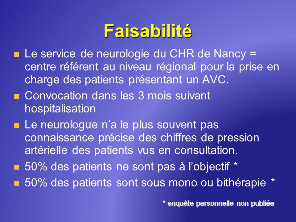 Faisabilité Le service de neurologie du CHR de Nancy = centre référent au niveau régional pour la prise en charge des patients présentant un AVC. Conv