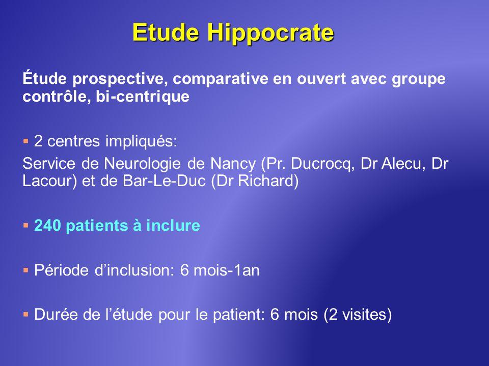 Etude Hippocrate Étude prospective, comparative en ouvert avec groupe contrôle, bi-centrique 2 centres impliqués: Service de Neurologie de Nancy (Pr.