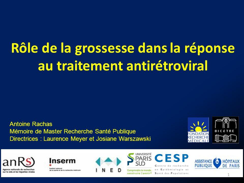 Rôle de la grossesse dans la réponse au traitement antirétroviral 1 Antoine Rachas Mémoire de Master Recherche Santé Publique Directrices : Laurence M