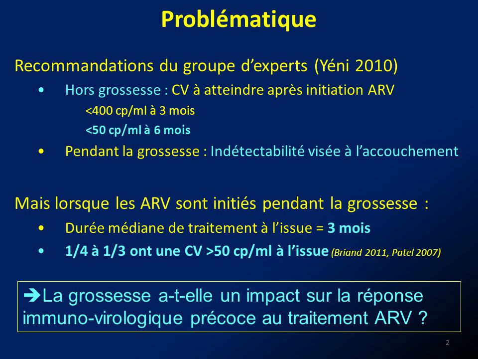 Recommandations du groupe dexperts (Yéni 2010) Hors grossesse : CV à atteindre après initiation ARV <400 cp/ml à 3 mois <50 cp/ml à 6 mois Pendant la