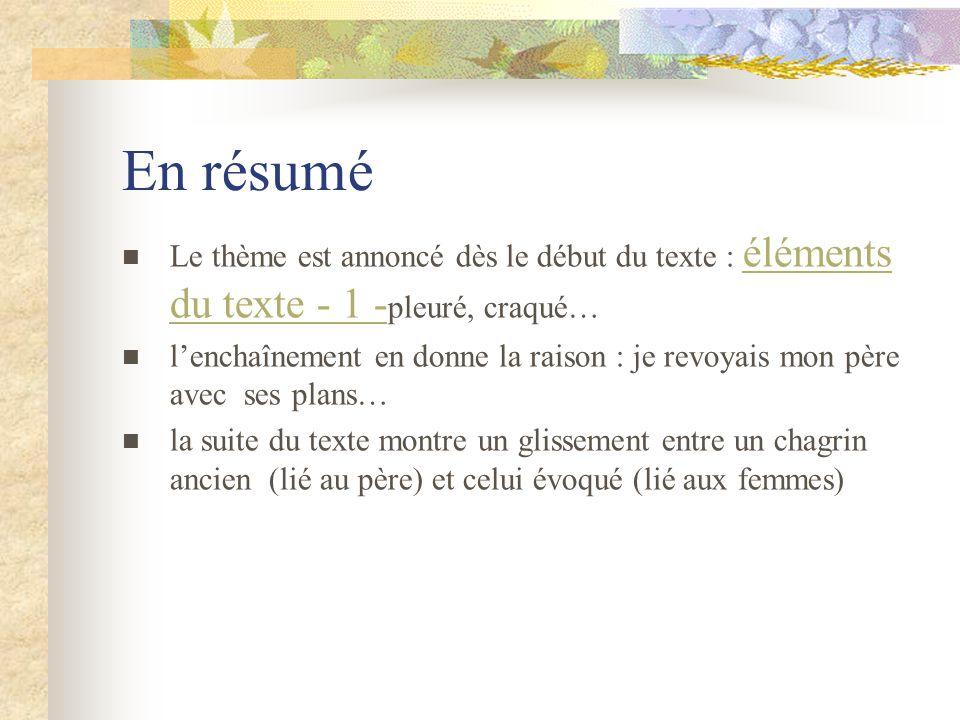 En résumé Le thème est annoncé dès le début du texte : éléments du texte - 1 - pleuré, craqué… éléments du texte - 1 - lenchaînement en donne la raiso