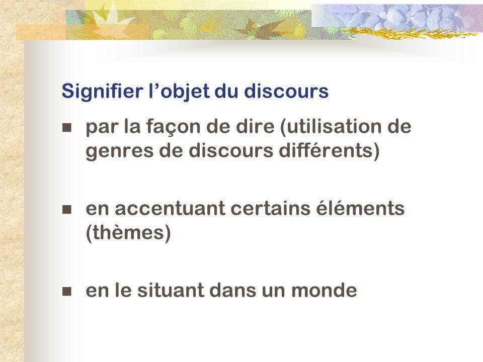 Signifier lobjet du discours par la façon de dire (utilisation de genres de discours différents) en accentuant certains éléments (thèmes) en le situant dans un monde