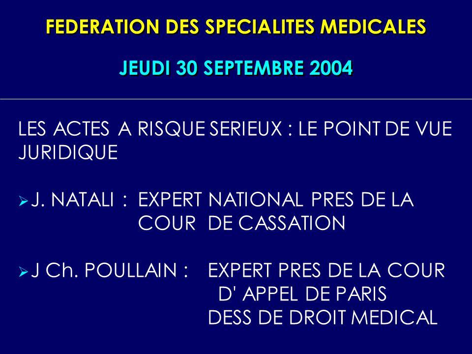 FEDERATION DES SPECIALITES MEDICALES LES ACTES A RISQUE SERIEUX : LE POINT DE VUE JURIDIQUE J. NATALI :EXPERT NATIONAL PRES DE LA COUR DE CASSATION J