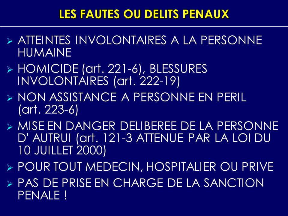 LES FAUTES OU DELITS PENAUX ATTEINTES INVOLONTAIRES A LA PERSONNE HUMAINE HOMICIDE (art. 221 6), BLESSURES INVOLONTAIRES (art. 222 19) NON ASSISTANCE