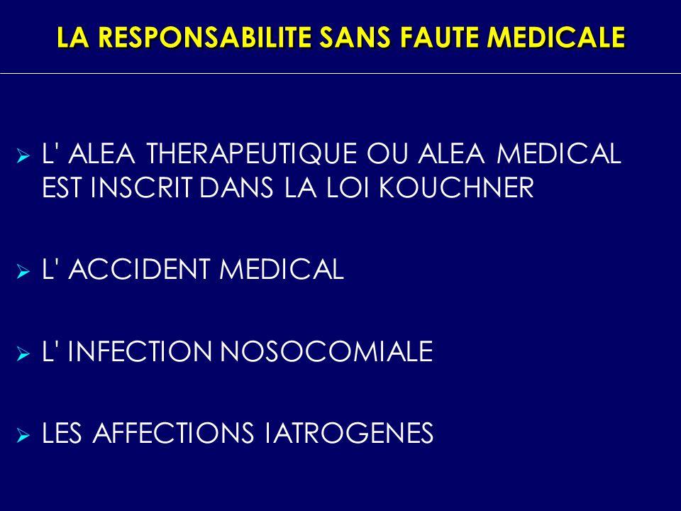 LA RESPONSABILITE SANS FAUTE MEDICALE L' ALEA THERAPEUTIQUE OU ALEA MEDICAL EST INSCRIT DANS LA LOI KOUCHNER L' ACCIDENT MEDICAL L' INFECTION NOSOCOMI