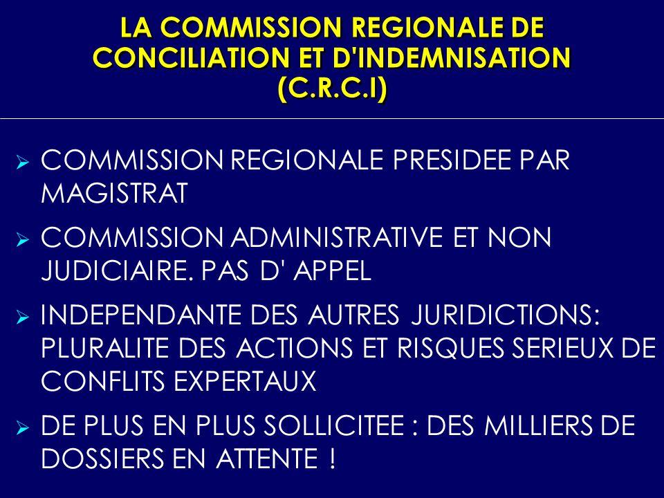 LA COMMISSION REGIONALE DE CONCILIATION ET D'INDEMNISATION (C.R.C.I) COMMISSION REGIONALE PRESIDEE PAR MAGISTRAT COMMISSION ADMINISTRATIVE ET NON JUDI