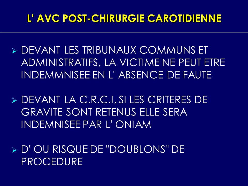 L' AVC POST CHIRURGIE CAROTIDIENNE DEVANT LES TRIBUNAUX COMMUNS ET ADMINISTRATIFS, LA VICTIME NE PEUT ETRE INDEMMNISEE EN L' ABSENCE DE FAUTE DEVANT L