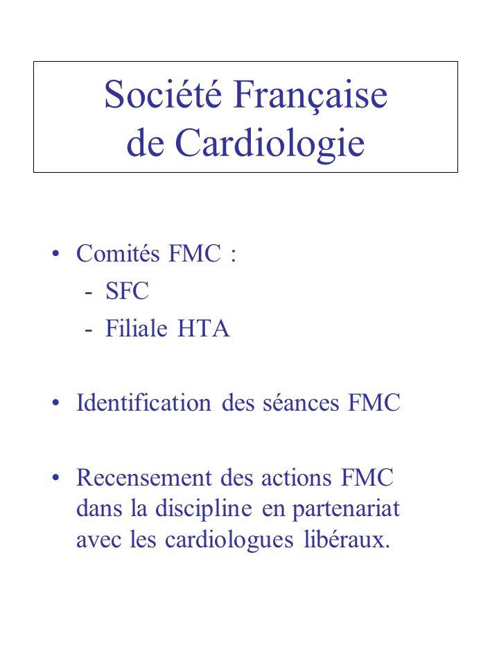 Comités FMC : -SFC -Filiale HTA Identification des séances FMC Recensement des actions FMC dans la discipline en partenariat avec les cardiologues libéraux.