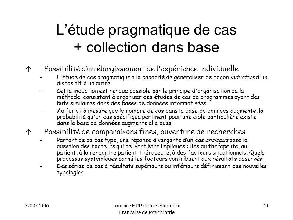 3/03/2006Journée EPP de la Fédération Française de Psychiatrie 20 Létude pragmatique de cas + collection dans base áPossibilité dun élargissement de lexpérience individuelle –L étude de cas pragmatique a la capacité de généraliser de façon inductive d un dispositif à un autre –Cette induction est rendue possible par le principe d organisation de la méthode, consistant à organiser des études de cas de programmes ayant des buts similaires dans des bases de données informatisées.