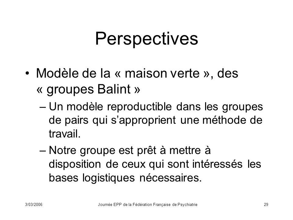 3/03/2006Journée EPP de la Fédération Française de Psychiatrie29 Perspectives Modèle de la « maison verte », des « groupes Balint » –Un modèle reproductible dans les groupes de pairs qui sapproprient une méthode de travail.
