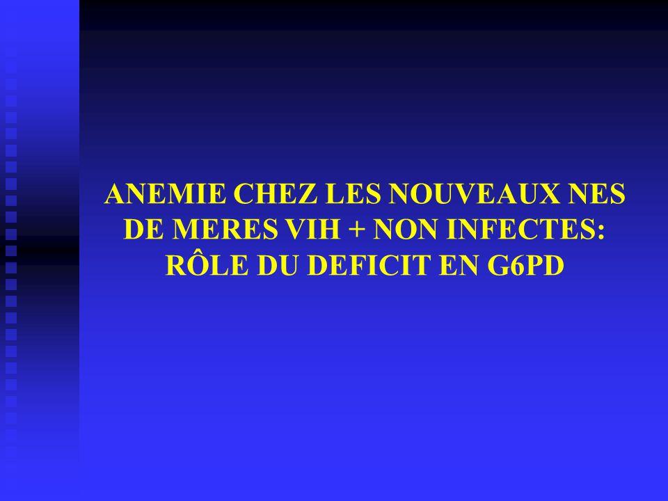 ANEMIE CHEZ LES NOUVEAUX NES DE MERES VIH + NON INFECTES: RÔLE DU DEFICIT EN G6PD