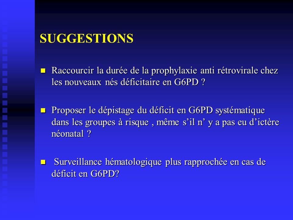 SUGGESTIONS Raccourcir la durée de la prophylaxie anti rétrovirale chez les nouveaux nés déficitaire en G6PD .