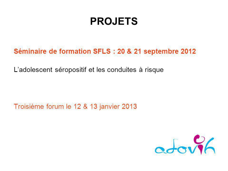 PROJETS Séminaire de formation SFLS : 20 & 21 septembre 2012 Ladolescent séropositif et les conduites à risque Troisième forum le 12 & 13 janvier 2013