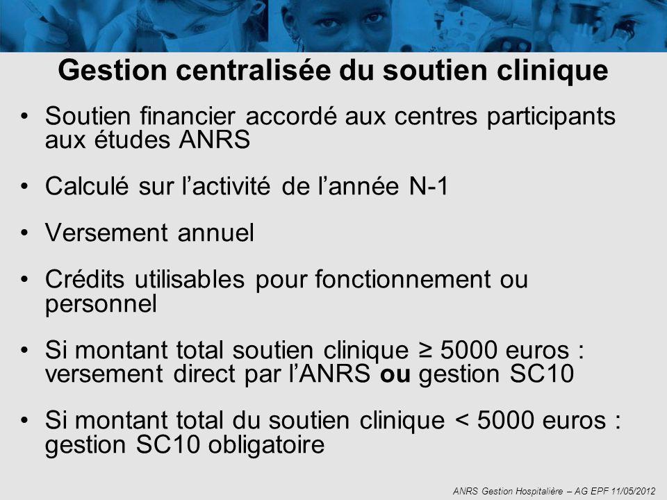 Soutien financier accordé aux centres participants aux études ANRS Calculé sur lactivité de lannée N-1 Versement annuel Crédits utilisables pour fonct