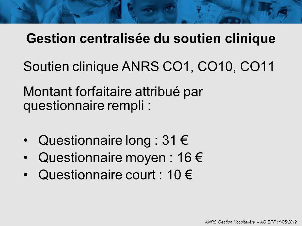 Soutien clinique ANRS CO1, CO10, CO11 Montant forfaitaire attribué par questionnaire rempli : Questionnaire long : 31 Questionnaire moyen : 16 Questio
