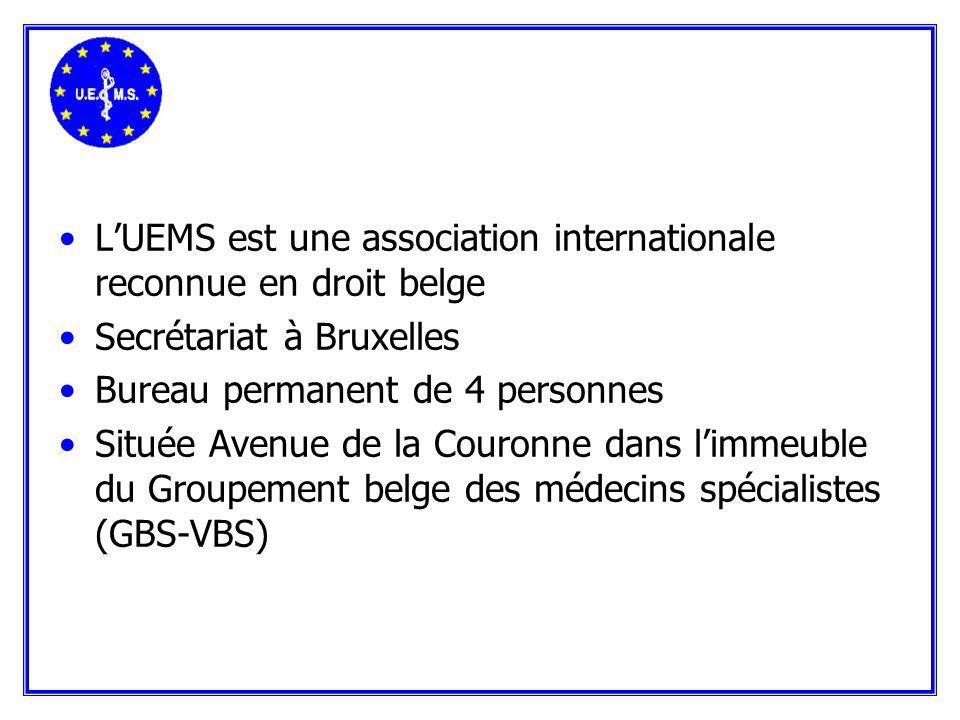 LUEMS est une association internationale reconnue en droit belge Secrétariat à Bruxelles Bureau permanent de 4 personnes Située Avenue de la Couronne dans limmeuble du Groupement belge des médecins spécialistes (GBS-VBS)