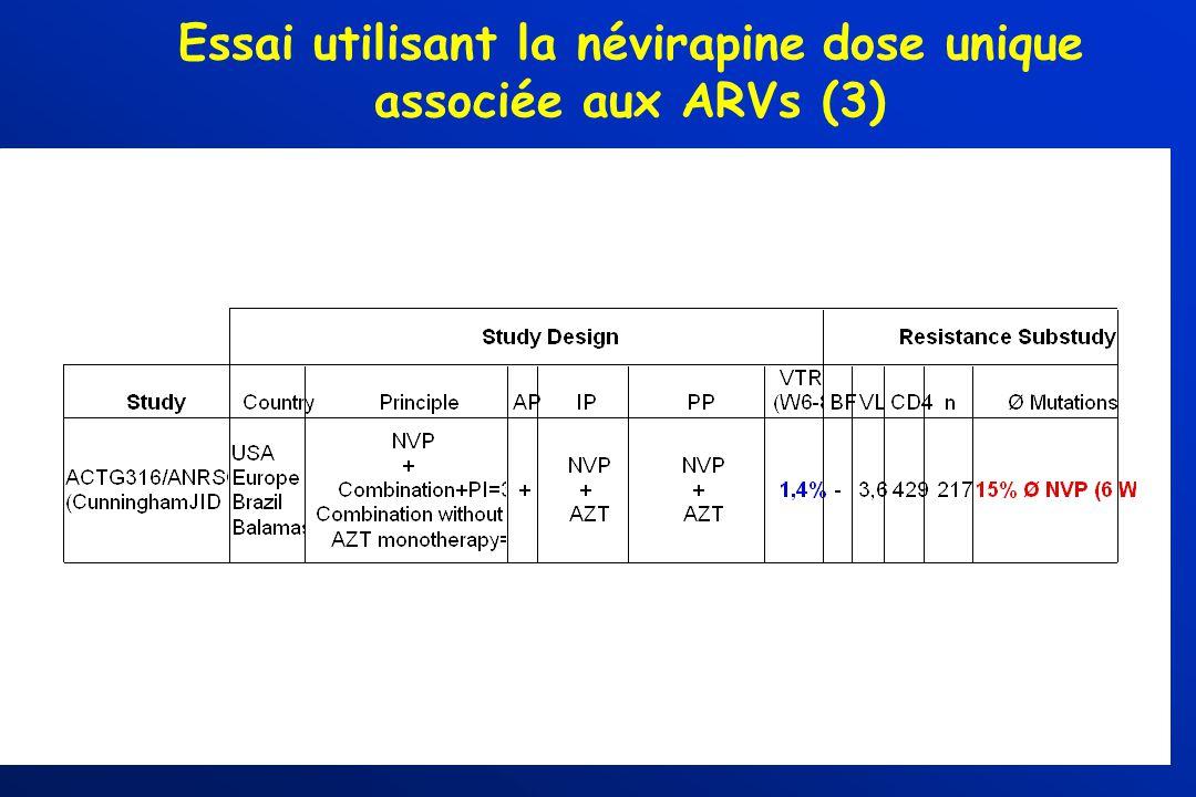Essai utilisant la névirapine dose unique associée aux ARVs (3)