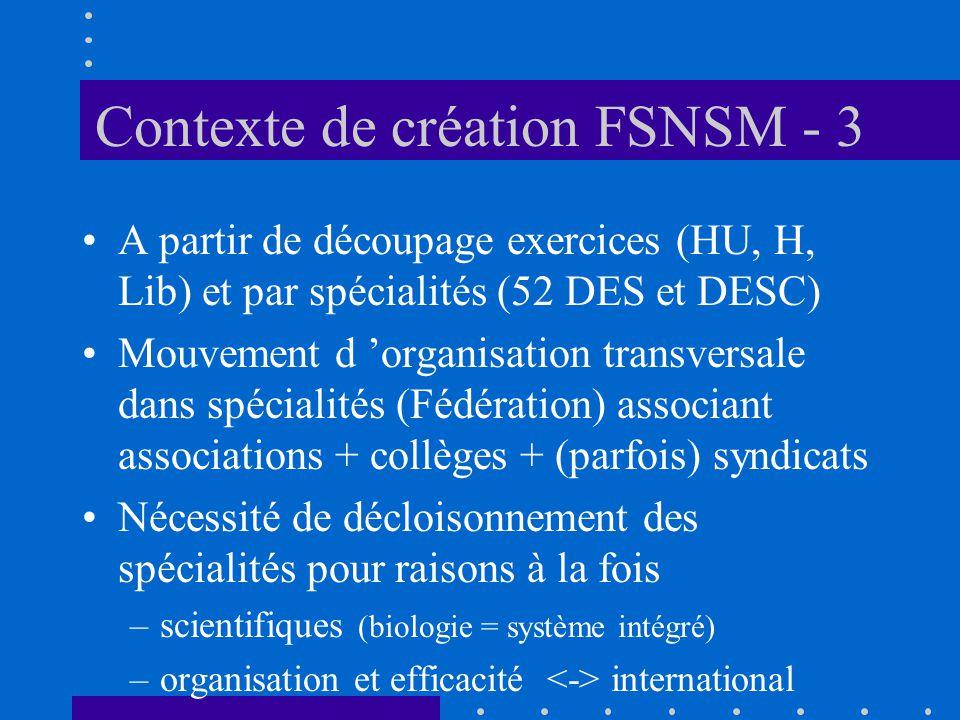 Contexte de création FSNSM - 3 A partir de découpage exercices (HU, H, Lib) et par spécialités (52 DES et DESC) Mouvement d organisation transversale