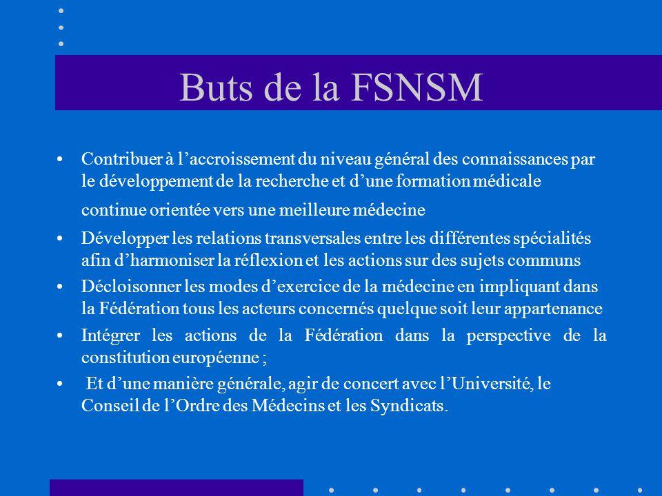 Buts de la FSNSM Contribuer à laccroissement du niveau général des connaissances par le développement de la recherche et dune formation médicale conti
