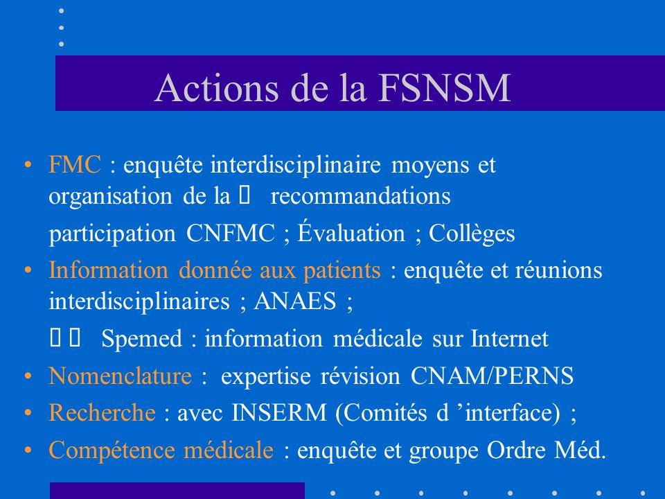 Actions de la FSNSM FMC : enquête interdisciplinaire moyens et organisation de la recommandations participation CNFMC ; Évaluation ; Collèges Informat