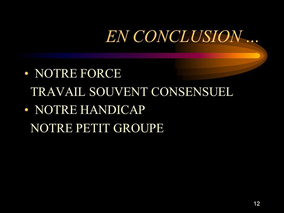 12 EN CONCLUSION … NOTRE FORCE TRAVAIL SOUVENT CONSENSUEL NOTRE HANDICAP NOTRE PETIT GROUPE