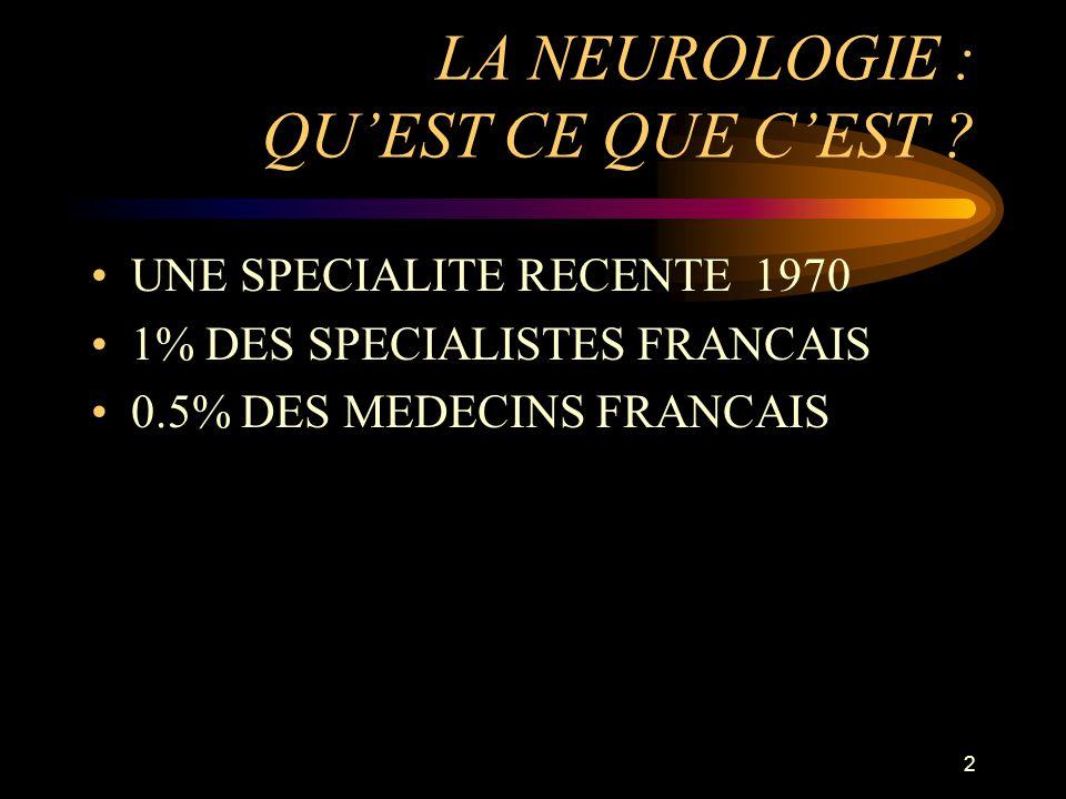 2 LA NEUROLOGIE : QUEST CE QUE CEST ? UNE SPECIALITE RECENTE 1970 1% DES SPECIALISTES FRANCAIS 0.5% DES MEDECINS FRANCAIS
