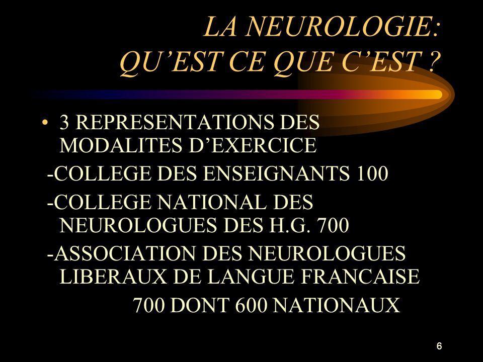6 LA NEUROLOGIE: QUEST CE QUE CEST ? 3 REPRESENTATIONS DES MODALITES DEXERCICE -COLLEGE DES ENSEIGNANTS 100 -COLLEGE NATIONAL DES NEUROLOGUES DES H.G.
