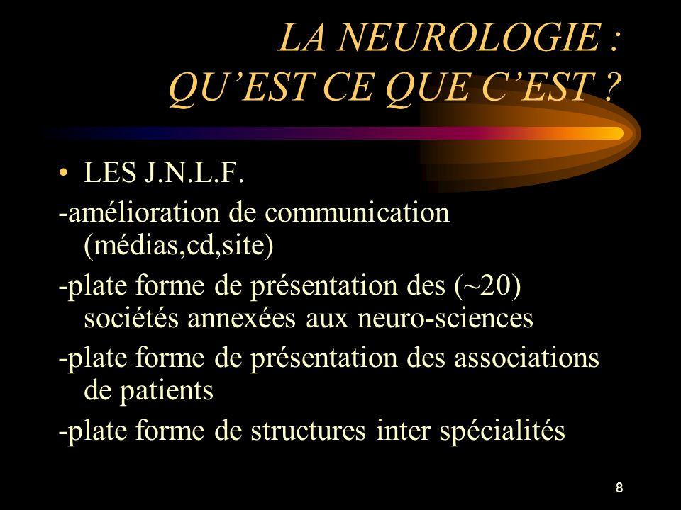 8 LA NEUROLOGIE : QUEST CE QUE CEST ? LES J.N.L.F. -amélioration de communication (médias,cd,site) -plate forme de présentation des (~20) sociétés ann