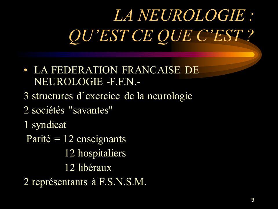 9 LA NEUROLOGIE : QUEST CE QUE CEST ? LA FEDERATION FRANCAISE DE NEUROLOGIE -F.F.N.- 3 structures dexercice de la neurologie 2 sociétés
