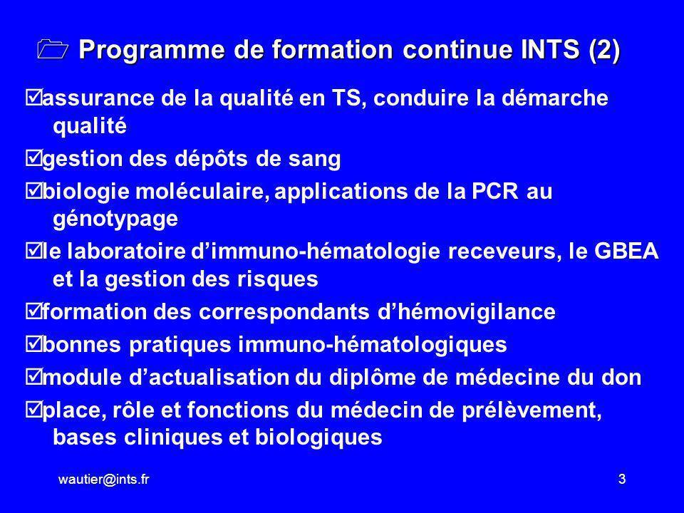 wautier@ints.fr3 Programme de formation continue INTS (2) Programme de formation continue INTS (2) assurance de la qualité en TS, conduire la démarche