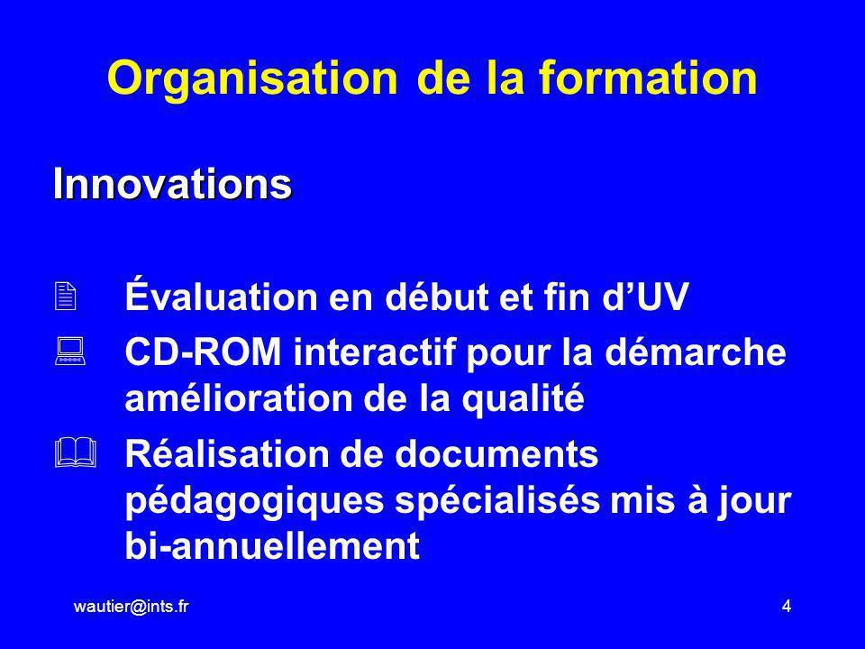 wautier@ints.fr4 Organisation de la formation Innovations Évaluation en début et fin dUV CD-ROM interactif pour la démarche amélioration de la qualité Réalisation de documents pédagogiques spécialisés mis à jour bi-annuellement