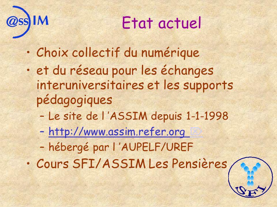 Etat actuel Choix collectif du numérique et du réseau pour les échanges interuniversitaires et les supports pédagogiques –Le site de l ASSIM depuis 1-1-1998 –http://www.assim.refer.org –hébergé par l AUPELF/UREF Cours SFI/ASSIM Les Pensières