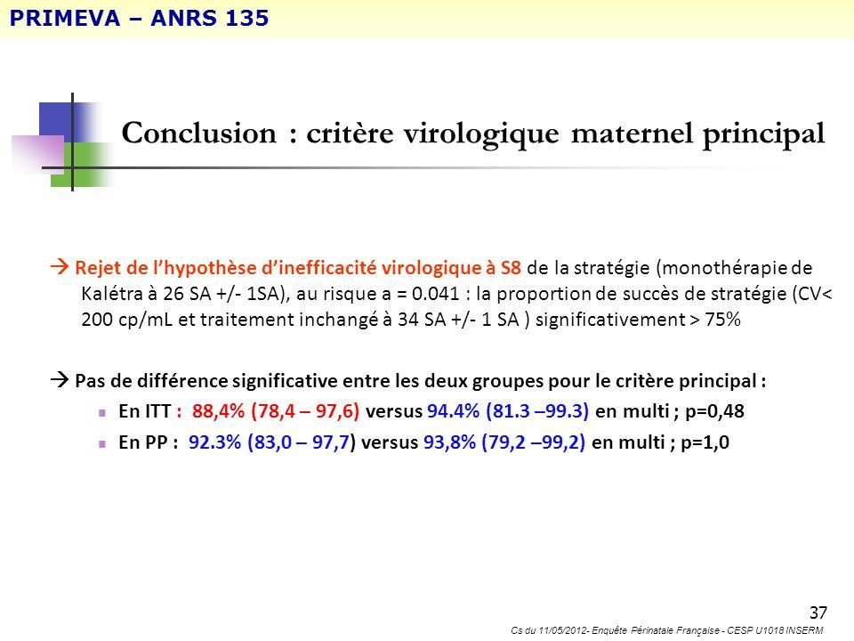 37 Conclusion : critère virologique maternel principal Rejet de lhypothèse dinefficacité virologique à S8 de la stratégie (monothérapie de Kalétra à 2