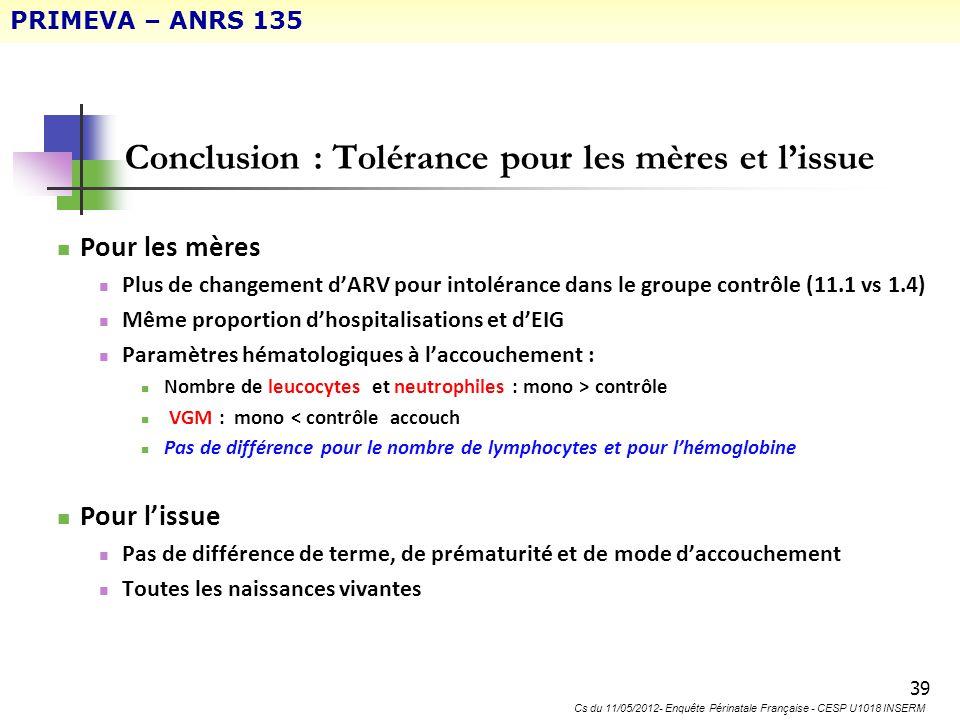 39 Conclusion : Tolérance pour les mères et lissue Pour les mères Plus de changement dARV pour intolérance dans le groupe contrôle (11.1 vs 1.4) Même