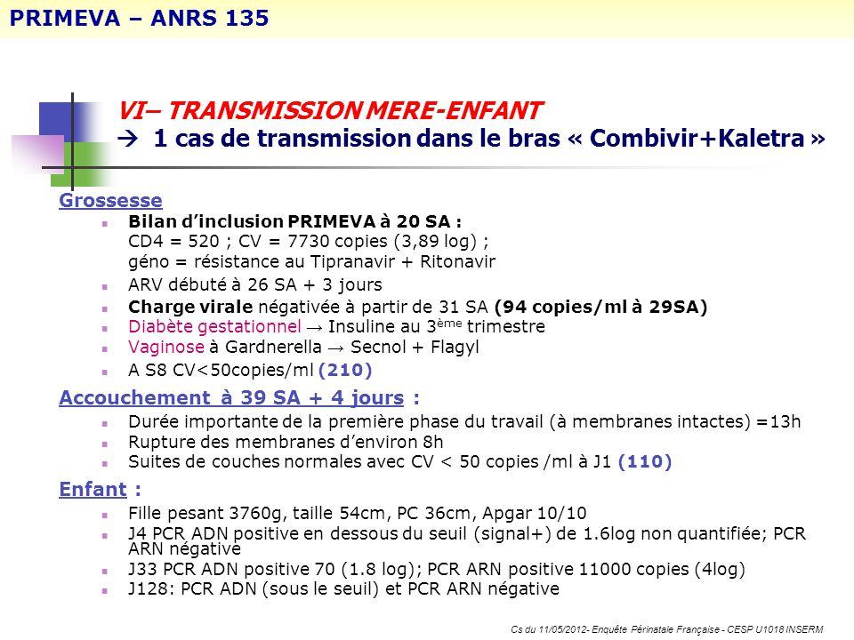 VI– TRANSMISSION MERE-ENFANT 1 cas de transmission dans le bras « Combivir+Kaletra » Grossesse Bilan dinclusion PRIMEVA à 20 SA : CD4 = 520 ; CV = 773