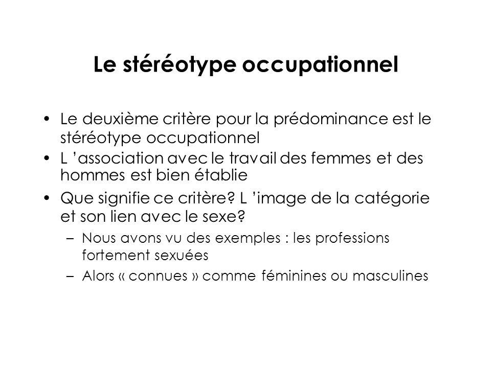 Le stéréotype occupationnel Le deuxième critère pour la prédominance est le stéréotype occupationnel L association avec le travail des femmes et des hommes est bien établie Que signifie ce critère.