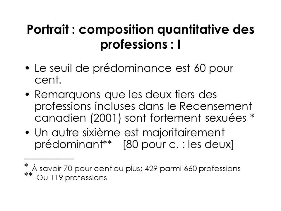 Portrait : composition quantitative des professions : I Le seuil de prédominance est 60 pour cent.