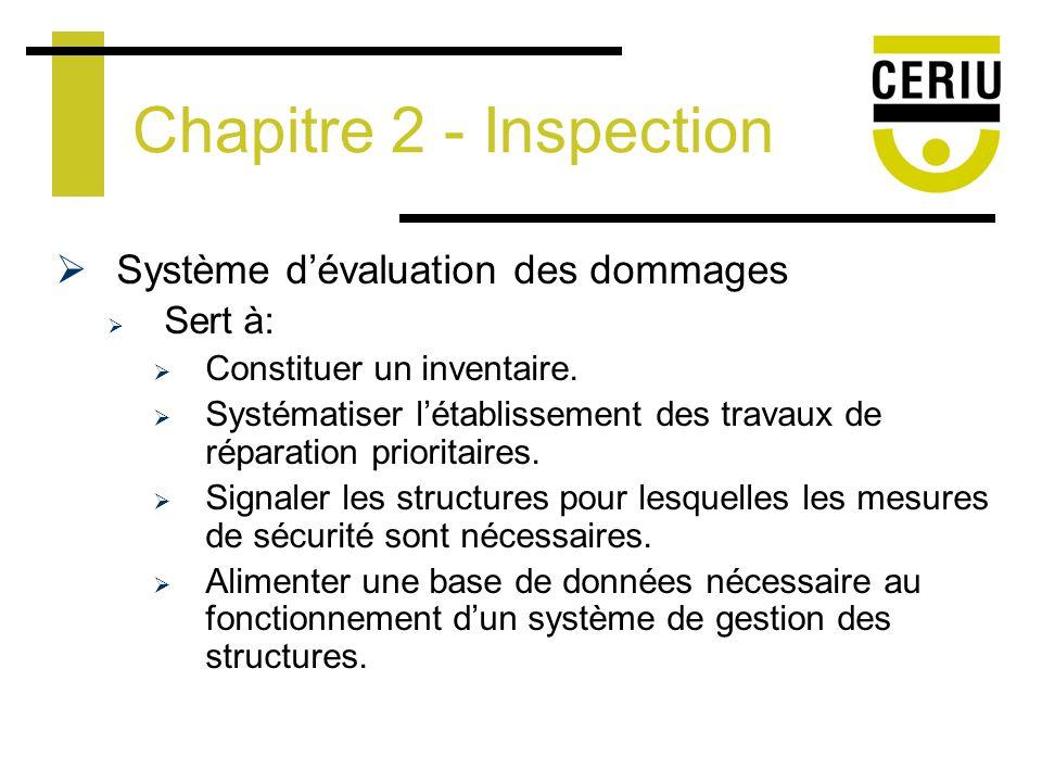 Système dévaluation des dommages Sert à: Constituer un inventaire.
