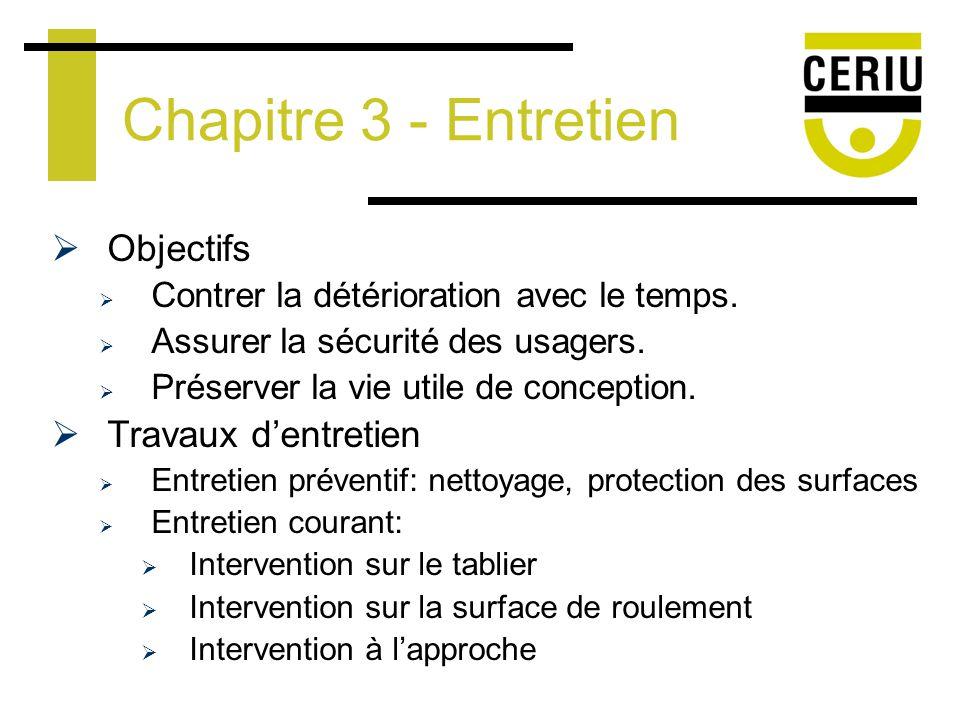 Chapitre 3 - Entretien Objectifs Contrer la détérioration avec le temps.
