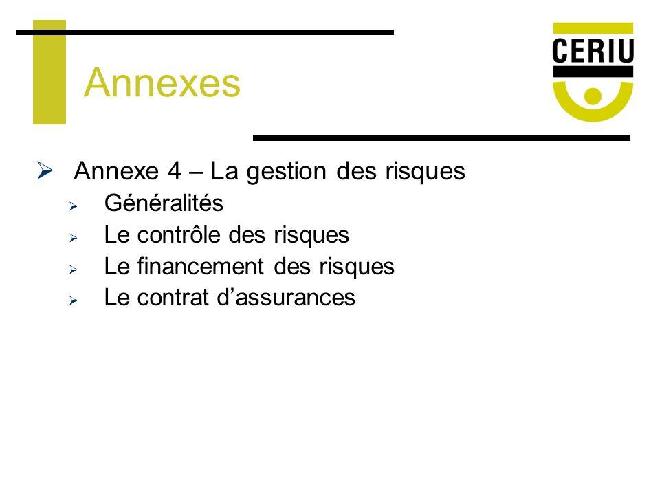 Annexes Annexe 4 – La gestion des risques Généralités Le contrôle des risques Le financement des risques Le contrat dassurances