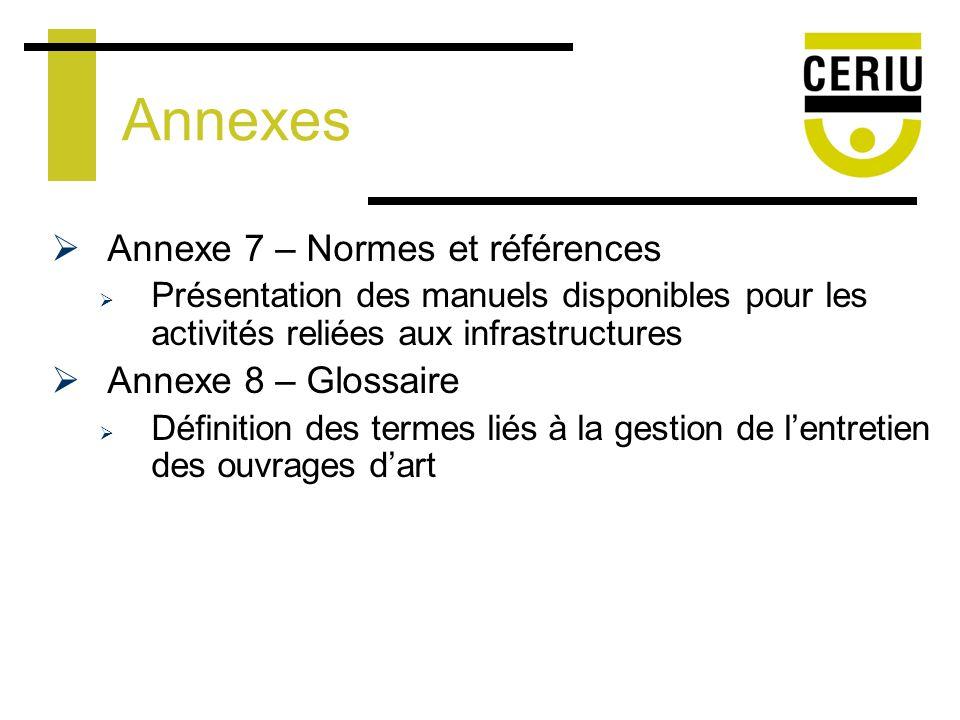 Annexes Annexe 7 – Normes et références Présentation des manuels disponibles pour les activités reliées aux infrastructures Annexe 8 – Glossaire Définition des termes liés à la gestion de lentretien des ouvrages dart