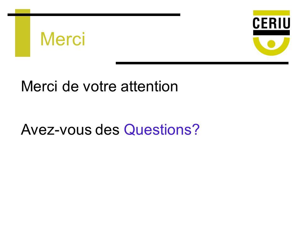 Merci Merci de votre attention Avez-vous des Questions